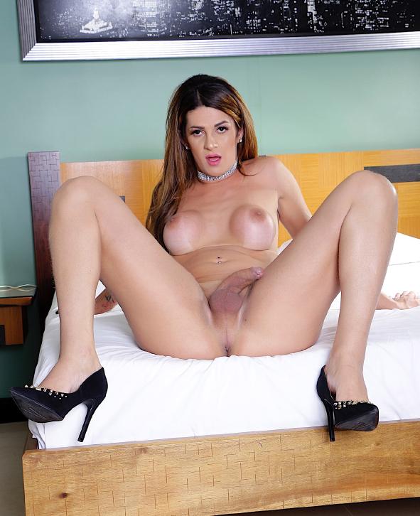Sexy tgirl Janaina Carvalho shows her tits and hard dick